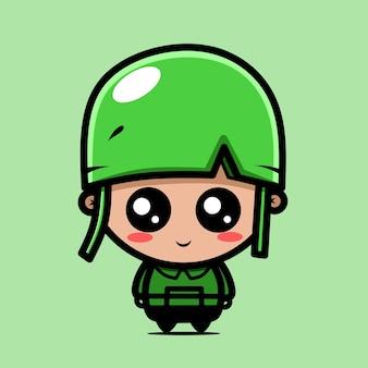 귀여운 아기 군대 캐릭터 카와이 디자인