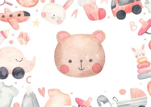 かわいい赤ちゃん、ベビーシャワー、白い背景の水彩イラスト