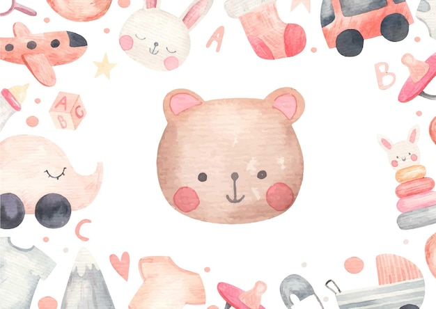 Cute baby, baby shower, watercolor illustration on white background