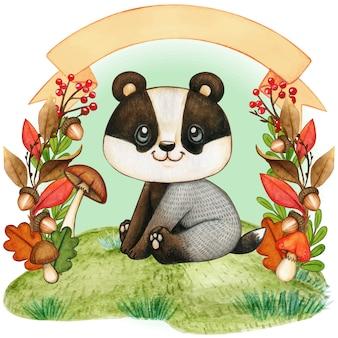 弓バナーと秋の花輪のかわいい赤ちゃんアナグマ