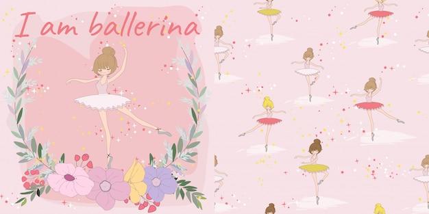Cute baby ballerina girl in flower frame seamless pattern