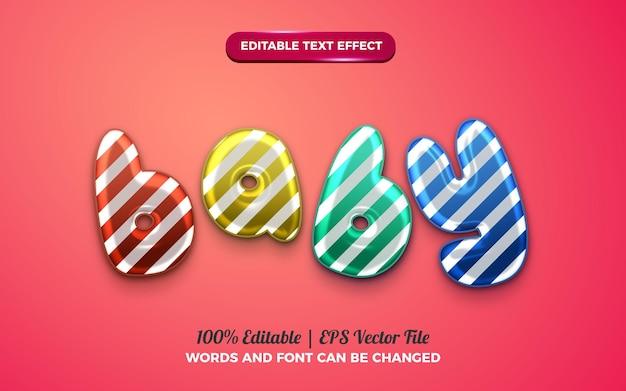 생일 축하를 위한 귀여운 아기 풍선 3d 액체 편집 가능한 텍스트 효과