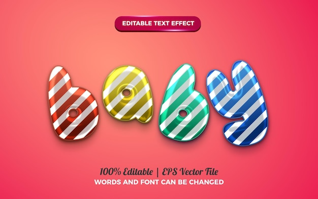 Cute baby baloon 3d liquid editable text effect for happy birthday