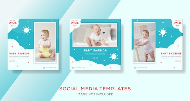 Cute baby banner template for media social.