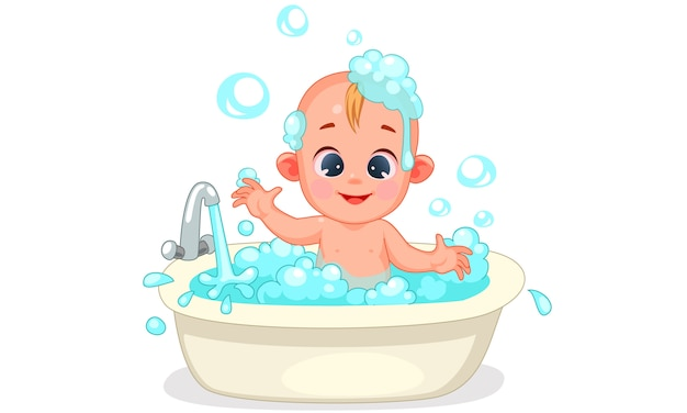 Of cute baby bathing with foam and bubbles