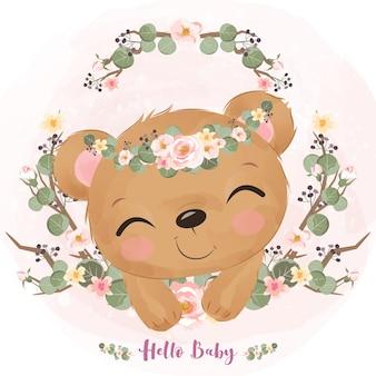 かわいい赤ちゃんクマと春の花のイラスト