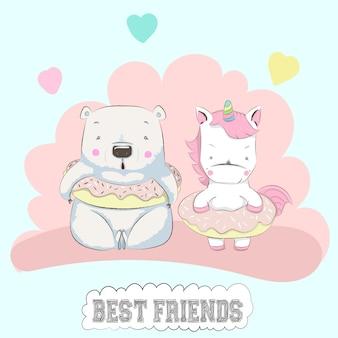 Cute baby bear and unicorn friends cartoon hand drawn