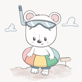 Cute baby bear on the beach hello summer