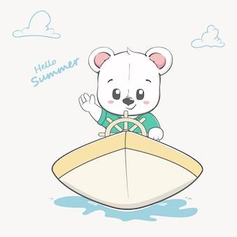 Cute baby bear on boat hello summer