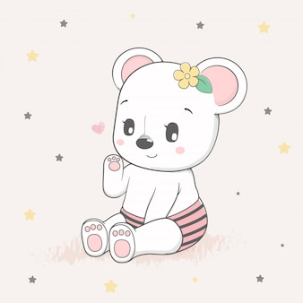 Cute baby bear cartoon hand drawn vecter illustration
