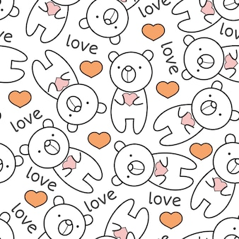 Cute baby bear cartoon seamless pattern