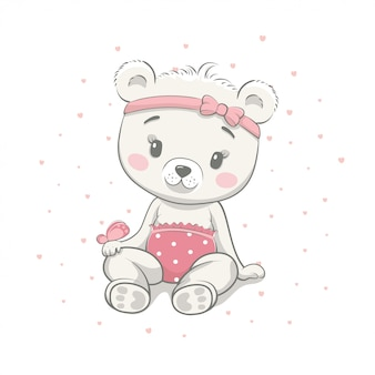 Cute baby bear cartoon vector illustration. illustration in hand drawing style for baby shower. greeting card, party invitation, fashion clothes t-shirt print.