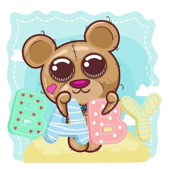 Cute baby bear cartoon. - vector