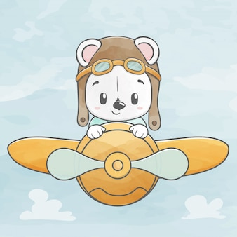 Cute baby bear fly with plane water color cartoon hand drawn