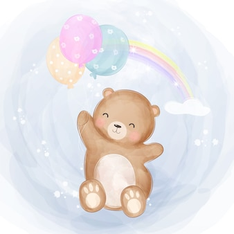 Cute baby bear flying with balloons