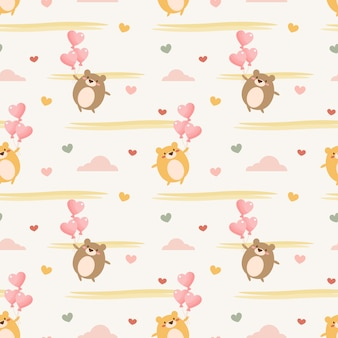 Cute baby bear and heart balloon seamless pattern.