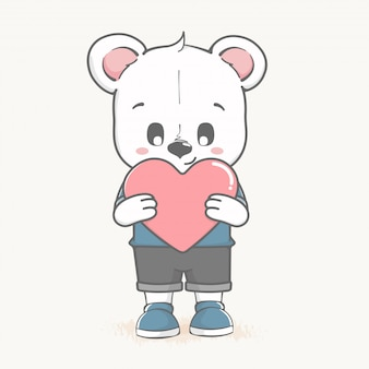 Cute baby bear hold a big heart cartoon hand drawn