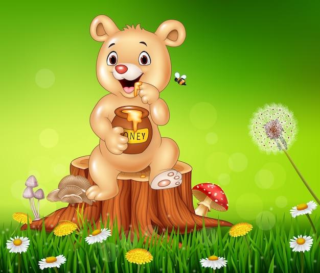 Cute baby bear holding honey on tree stump