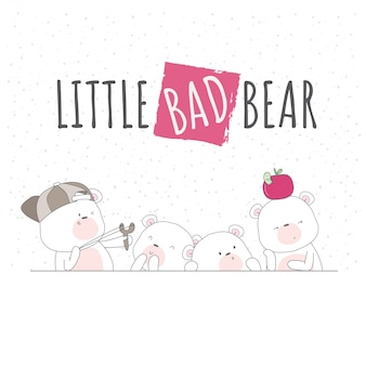 Cute baby bear illustration for kids