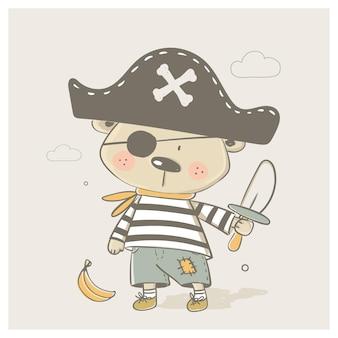 해적 양복에 귀여운 아기 곰 만화 손으로 그린 벡터 일러스트 레이 션 아기를 위해 사용할 수 있습니다