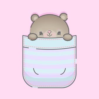 ポケットのイラストでかわいい赤ちゃんクマ