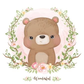 수채화에 귀여운 아기 곰