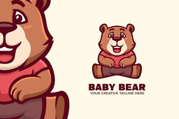 귀여운 아기 곰 마스코트 캐릭터 로고 템플릿