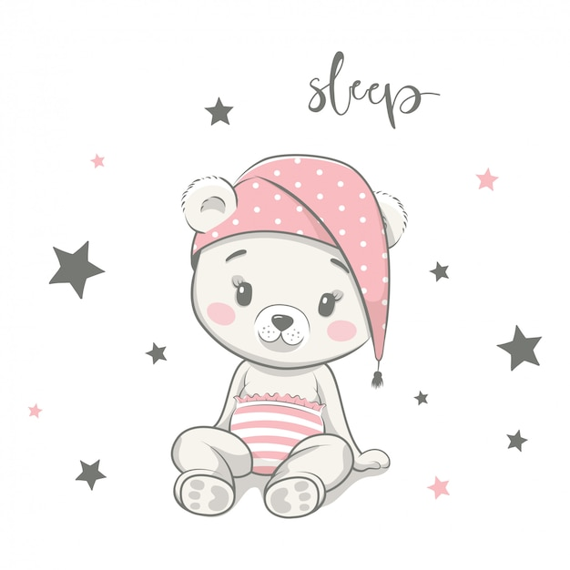 Cute baby bear in nightcap cartoon illustration