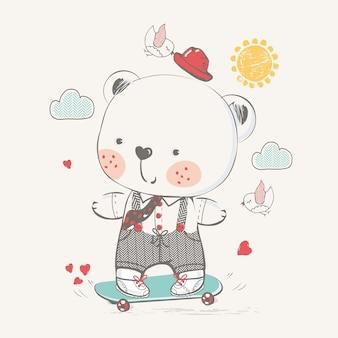 스케이트보드 손으로 그린 벡터 일러스트레이션에 있는 귀여운 아기 곰은 아기 티셔츠 인쇄에 사용할 수 있습니다.