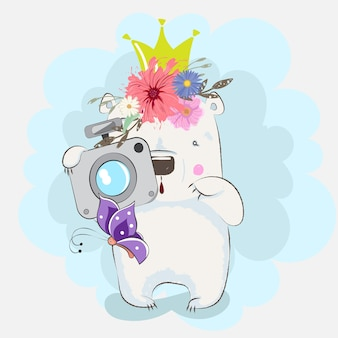 Cute baby bear photographer cartoon