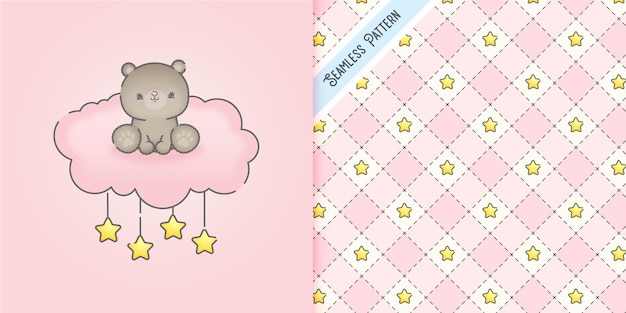 Cute baby bear on a pink cloud with stars seamless pattern