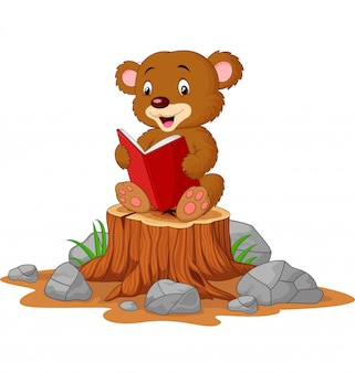 Cute baby bear reading book on tree stump