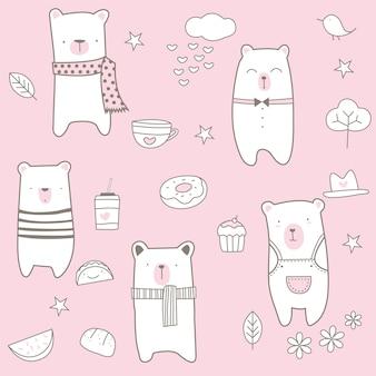 Cute baby bear seamless pattern