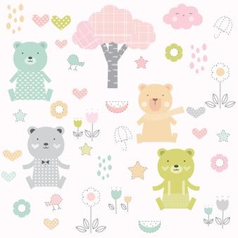 귀여운 아기 곰 원활한 패턴