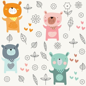 Cute baby bear seamless pattern