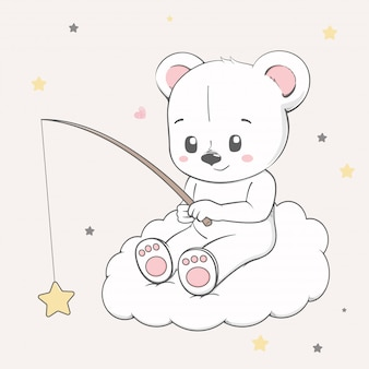 Cute baby bear sit on the cloud and catching stars