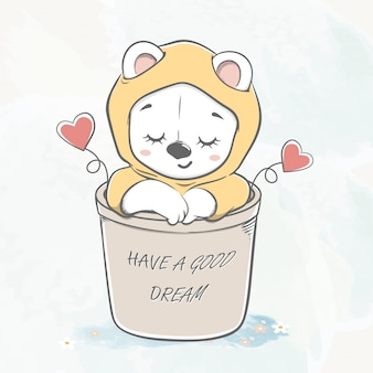 Cute baby bear sleep in basket water color cartoon hand drawn
