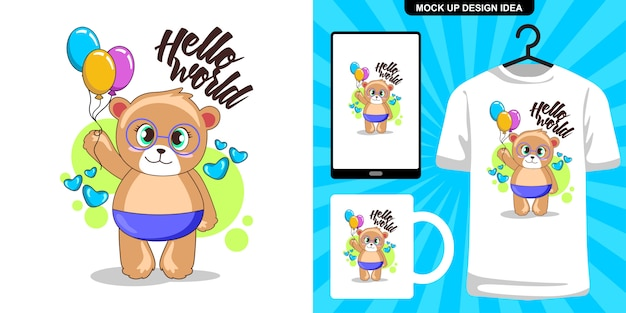 Cute baby bear with balloon illustration and merchandising