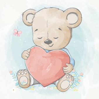 Cute baby bear with big heart water color cartoon hand drawn  illustration