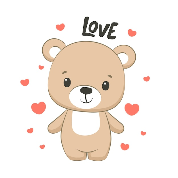 Cute baby bear with hearts and phrase love illustration