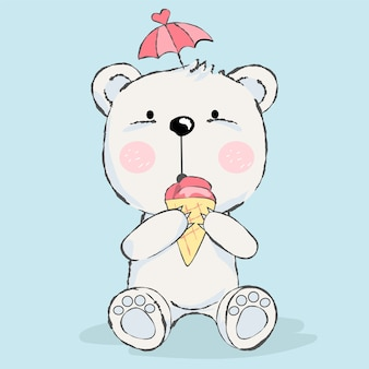 Cute baby bear with ice cream cartoon