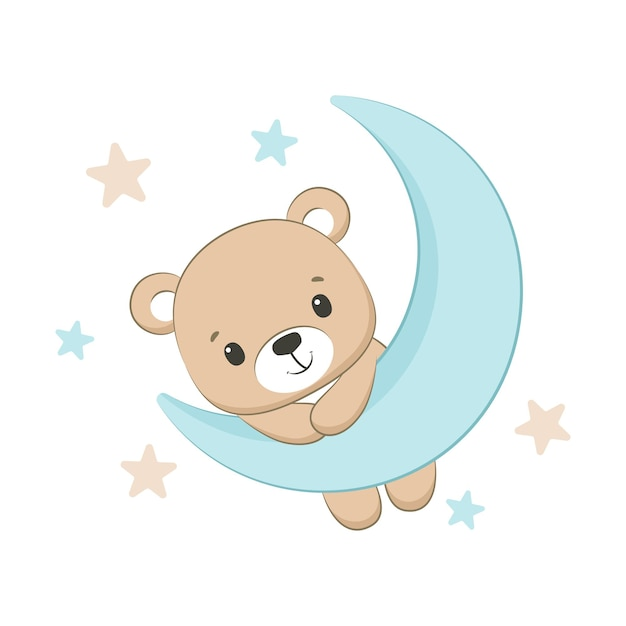 Cute baby bear with moon and stars illustration