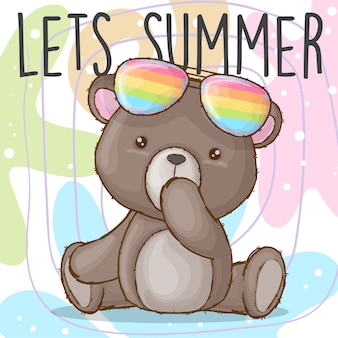 Cute baby bear with rainbow glasses hand drawn animal