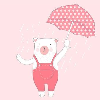 Cute baby bear with umbrella cartoon hand drawn style