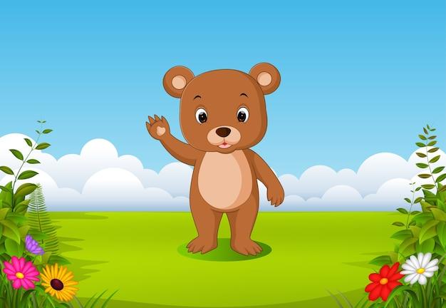 Cute baby bears cartoon with nature scenery