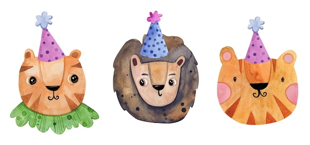 Cute baby birthday animal  set hand drawn in watercolor.