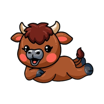 Cute baby bison cartoon laying down