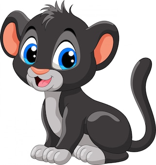 Cute baby black panther cartoon