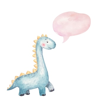 Милый ребенок синий динозавр улыбается и думает значок, облако, детская иллюстрация акварель