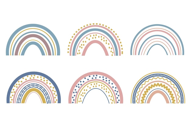 Cute baby boho rainbow set in scandinavian style lovely decoration isolated on white